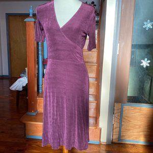 Marciano purple jersey knit faux wrap v neck dress